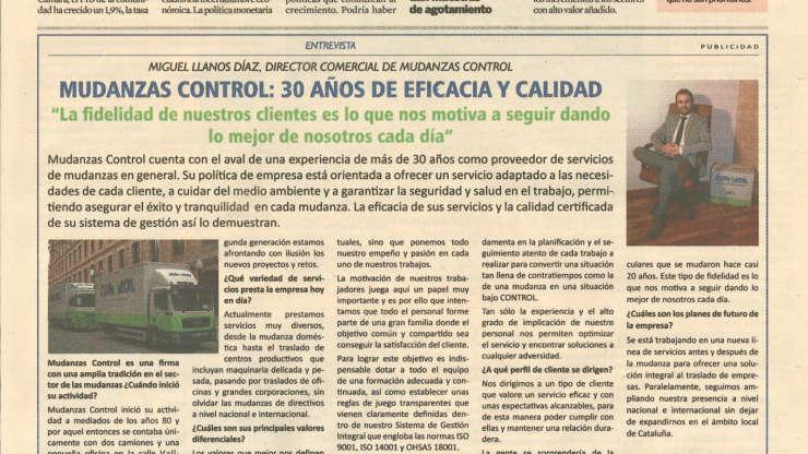 Entrevista al director comercial en Diario Expansión